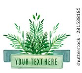 cover with green watercolor... | Shutterstock .eps vector #281538185