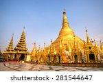 Shwedagon Paya pagoda Myanmer famous sacred place and tourist attraction landmark.Yangon, Myanmar