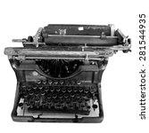 vintage black typewriter... | Shutterstock . vector #281544935