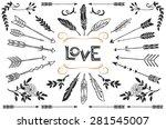 hand drawn vintage arrows ... | Shutterstock .eps vector #281545007