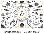 hand drawn vintage decorative... | Shutterstock .eps vector #281545019