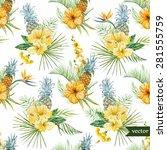watercolor vector tropical... | Shutterstock .eps vector #281555759