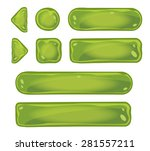 set of glass green icons for...
