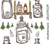 apothecary magic bottles ... | Shutterstock .eps vector #281559239