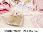 pin cushion with sewing pins | Shutterstock . vector #281559767
