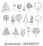 set of tree doodles | Shutterstock .eps vector #281560379
