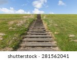 Wooden Stairs Upon Green Hill...
