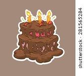 birthday chocolate cake hand... | Shutterstock .eps vector #281565284