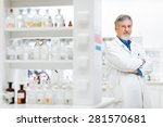 senior male researcher carrying ... | Shutterstock . vector #281570681