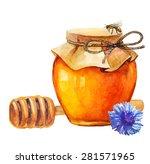 watercolor honey jar and honey... | Shutterstock .eps vector #281571965