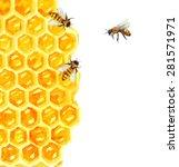 watercolor honeycomb and bee... | Shutterstock .eps vector #281571971