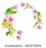 watercolor apple flowers wreath ... | Shutterstock .eps vector #281572001