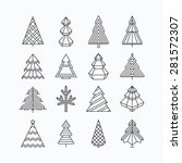 graphical christmas tree set ... | Shutterstock .eps vector #281572307