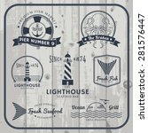 nautical and seafood labels... | Shutterstock .eps vector #281576447