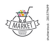 round vector logo shopping cart | Shutterstock .eps vector #281579699