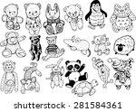 plush toys black and white... | Shutterstock .eps vector #281584361