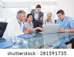 team of doctors and...   Shutterstock . vector #281591735