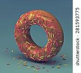 3d cake font letter o   Shutterstock . vector #281593775