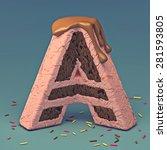 3d cake font letter a   Shutterstock . vector #281593805