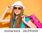 woman with summer hat holding... | Shutterstock . vector #281594204