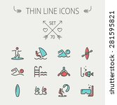 sports thin line icon set for... | Shutterstock .eps vector #281595821