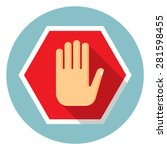 no entry hand icon | Shutterstock .eps vector #281598455