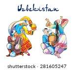 uzbekistan traditional dances...   Shutterstock .eps vector #281605247