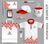 corporate identity red set with ... | Shutterstock .eps vector #281606129