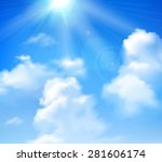 sun shining in blue sky with... | Shutterstock .eps vector #281606174