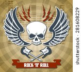 retro rock with skull wings and ... | Shutterstock .eps vector #281608229