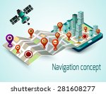 navigation concept with cartoon ... | Shutterstock .eps vector #281608277