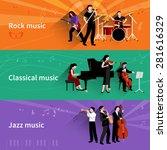 musicians horizontal banner set ... | Shutterstock .eps vector #281616329