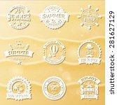 set of retro emblems for summer ... | Shutterstock .eps vector #281627129
