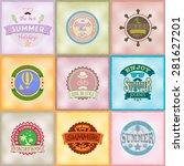 set of retro emblems for summer ... | Shutterstock .eps vector #281627201