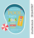 pool party invitation  with top ... | Shutterstock .eps vector #281643587