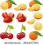 orange cherry strawberry whole... | Shutterstock .eps vector #281647391