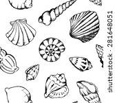 sea shells vector monochrome... | Shutterstock .eps vector #281648051