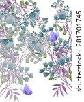 beautiful summer meadow flowers ... | Shutterstock . vector #281701745