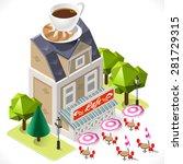 isometric city 3d restaurant...   Shutterstock .eps vector #281729315