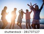 happy friends dancing on the... | Shutterstock . vector #281737127