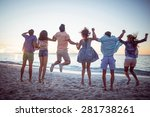 happy friends holding hands and ... | Shutterstock . vector #281738261