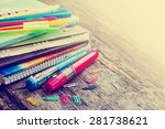 school supplies on wooden... | Shutterstock . vector #281738621