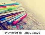 school supplies on wooden... | Shutterstock . vector #281738621