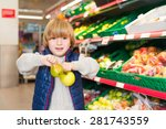 little boy choosing fruits in a ... | Shutterstock . vector #281743559