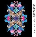 exotic bird pink flamingo ...   Shutterstock .eps vector #281743835