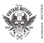 rider skull with retro racer... | Shutterstock .eps vector #281747819