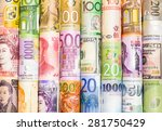 Stock photo a backgrounds with colorful of many roll currency money from many country 281750429