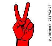 V Hand Victory Symbol Vector...