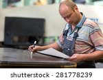 factory man worker marking... | Shutterstock . vector #281778239