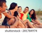 friendship  summer vacation ... | Shutterstock . vector #281784974
